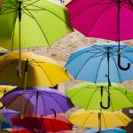 """Colourful Umbrellas"" by raetucker"