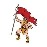 Viking Warrior Brandishing Red Flag Retro