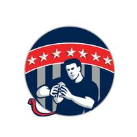 Flag Football QB Player Running Circle Retro