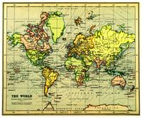 Vintage Map of The World (1899) - Stylized