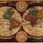 """Vintage Map of The World (1730) - Stylized"" by Alleycatshirts"