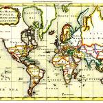 """Vintage Map of The World (1766) - Stylized"" by Alleycatshirts"