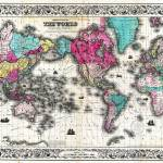 """Vintage Map of The World (1852) - Stylized"" by Alleycatshirts"