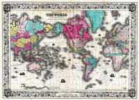 Vintage Map of The World (1852) - Stylized
