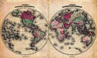 Vintage Map of The World (1862) - Stylized