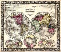 Vintage Map of The World (1864) - Stylized