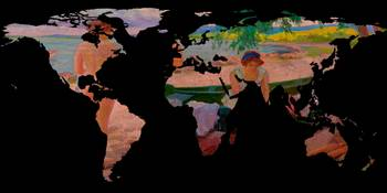 World Map Silhouette - Undressing at The Beach