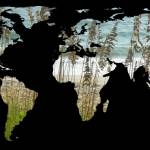 """World Map Beach Silloutte black background - resiz"" by Alleycatshirts"