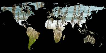 World Map Silhouette - Beach Grass and Ocean