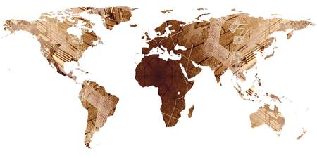 World Map Silhouette - Brown Mandala