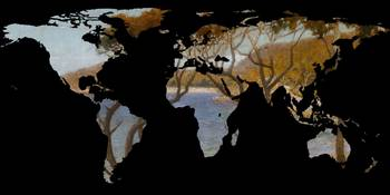 World Map Silhouette - Coastal Trees Painting