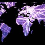 """World Map Silhouette - Fireworks"" by Alleycatshirts"