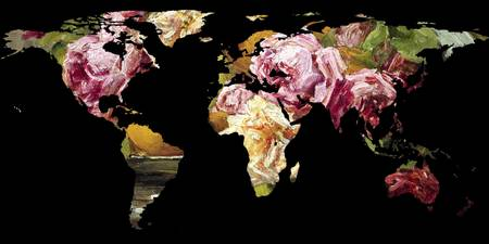 World Map Silhouette - Painting of Roses