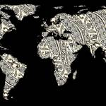 """World Map Silhouette - Patterned Mandala 03"" by Alleycatshirts"