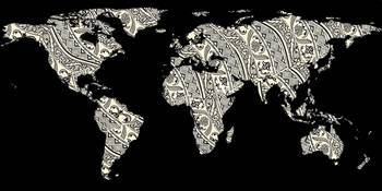 World Map Silhouette - Patterned Mandala 03
