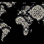 """World Map Silhouette - Patterned Mandala 02"" by Alleycatshirts"