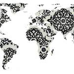 """world map pattern white background - 02 - resized"" by Alleycatshirts"
