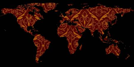 World Map Silhouette - Orange & Red Floral Patten