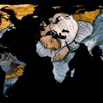 """World Map Silhouette - A Resting World"" by Alleycatshirts"