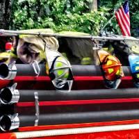 Three Fire Helmets on Fire Truck Art Prints & Posters by Susan Savad