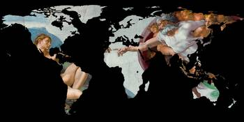World Map Silhouette - The Creation of Adam