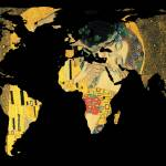 """World Map Silhouette - The Kiss Gustav Klimt"" by Alleycatshirts"