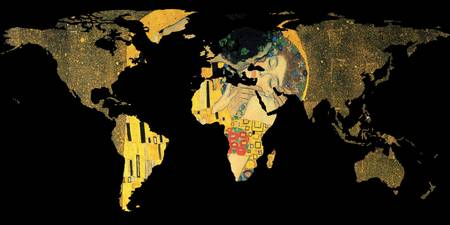 World Map Silhouette - The Kiss Gustav Klimt