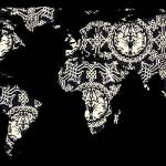 """World Map Silhouette - Patterned Mandala"" by Alleycatshirts"