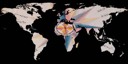 World Map Silhouette - Navigational Compass