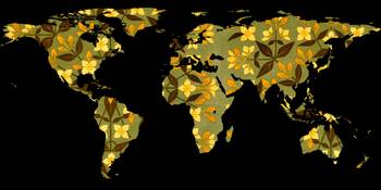 World Map Silhouette - Yellow Flower Pattern