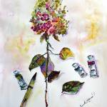 """9-21-16-StillLife-Hydrangea-WC-24by18_4Prints"" by GinetteCallaway"
