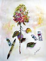 Hydrangea and Paint Tubes Still Life Watercolor