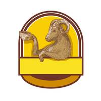 Ram Goat Drinking Coffee Crest Drawing