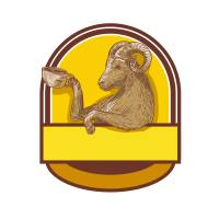 """Ram Goat Drinking Coffee Crest Drawing"" by patrimonio"