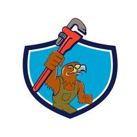 Hawk Mechanic Pipe Wrench Crest Cartoon