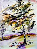Autumn Wind and Birds Modern Watercolor and Ink