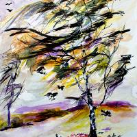 Autumn Wind and Birds Modern Watercolor and Ink Art Prints & Posters by Ginette Callaway