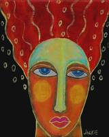 Wild Red Hair Abstract Portrait of a Woman