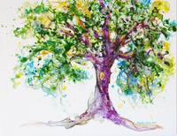 PurpleTree watercolour by CheyAnne Sexton