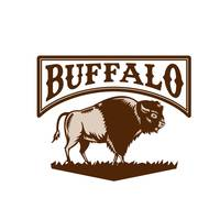 Buffalo American Bison Side Woodcut