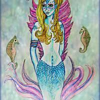 Mermaid with Seahorses Art Prints & Posters by Chris Crowley
