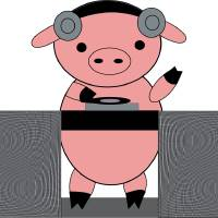 DJ Piggy Pig Art Prints & Posters by Valerie Waters