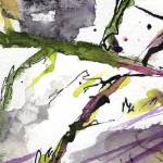 """Abstract Modern Organic Watercolor and Ink 5"" by GinetteCallaway"