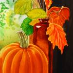 """Pumpkin And Fall Leaves"" by IrinaSztukowski"