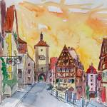 """Rothenburg_Tauber_Watercolor_Sunset_In_Romantic_Fr"" by arthop77"