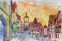 Rothenburg_Tauber_Watercolor_Sunset_In_Romantic_Fr