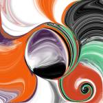 """Abstract Orb in Purple, Orange, Black, and Green"" by JessieLee72"