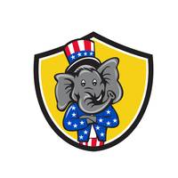 Republican Elephant Mascot Arms Crossed Shield Car