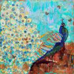 """SCHULMAN-Peacock Paparazzi-24x24in"" by schulmanart"
