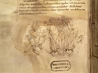 Aldhelm, seated, presents his book on virginity to
